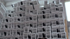 Dolly of PVC profiles, plastic windows manufacture. 4k Stock Footage