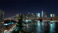 Brooklyn Bridge and Manhattan, New York City at Night Timelapse Stock Footage