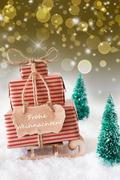 Vertical Sleigh On Golden Background, Frohe Weihnachten Means Merry Christmas Kuvituskuvat