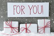 White Gift With Snowflakes, Text For You Stock Photos