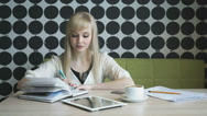 Girl writes important information in a diary Stock Footage