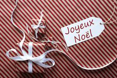 Two Gifts With Label, Joyeux Noel Means Merry Christmas Stock Photos