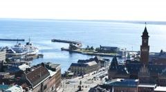 Aerial view of the beautiful Helsingborg Stock Footage