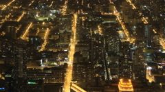4K UltraHD Wide aerial view of Chicago after dark Arkistovideo