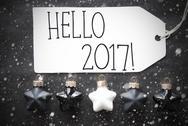 Black Christmas Balls, Snowflakes, Text Hello 2017 Stock Photos