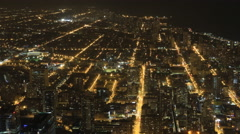 4K UltraHD Wide aerial view of Chicago at night Arkistovideo