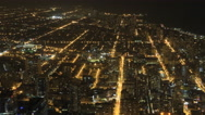 4K UltraHD Wide aerial view of Chicago at night Stock Footage