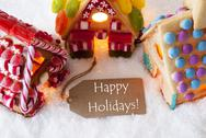 Colorful Gingerbread House, Snow, Text Happy Holidays Stock Photos