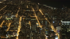 4K UltraHD Wide aerial view after dark in Chicago Arkistovideo