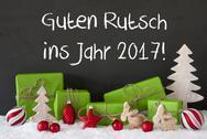 Christmas Decoration, Cement, Snow, Guten Rutsch 2017 Means New Year Stock Photos