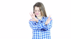Stop, Rejecting Gesture, By Woman, White Background Stock Footage