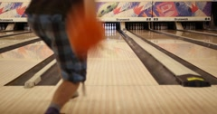 Bowling a Near Strike in Hollywood Bowling Alley Stock Footage