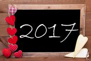 Chalkbord, Red And Yellow Hearts, Text 2017 Stock Photos