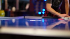 Air Hockey Game: Speed Ramp Real Time to Slow Motion Stock Footage