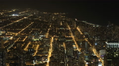 4K UltraHD Wide aerial view at night in Chicago Arkistovideo