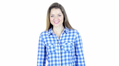 Skype, Woman Doing Online Video chat , White Background Stock Footage