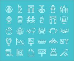 Set Vector Flat Line Icons New York Piirros