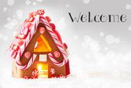 Gingerbread House, Silver Background, Text Welcome Stock Photos