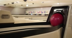 Bowling Ball out of Ball Return in Bowling Alley, Close Up Stock Footage