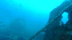 Scuba Divers Exploring World War I Shipwreck Stock Footage