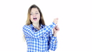 Dancing Female on White Background Stock Footage