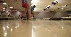 People Bowling in Different Lanes - Long Shot - Bowling Alley  Stock Footage