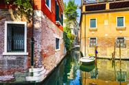 Venice cityscape, water canal, bridge and traditional buildings. Italy Stock Photos