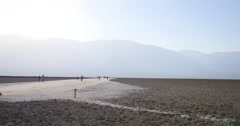 Tourists at Badwater Basin, Death Valley National Park, California. Stock Footage
