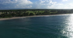 Bird's-eye panoramic view under azure surface of the Caribbean Sea, white sand Stock Footage