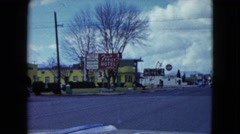 1959: people driving into a town with many motels. LAS VEGAS, NEVADA Stock Footage
