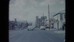 1959: travelling road sign board restaurant car's motion LAS VEGAS, NEVADA Stock Footage