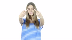 Middle Finger, Upset Woman shows Aggression, White Background Stock Footage