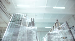 Glass for glazed windows. Warehouse for glass. Stock Footage