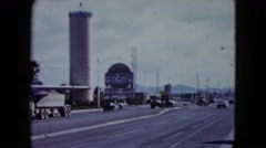 1959: a view of the city road with old fashion cars LAS VEGAS, NEVADA Stock Footage