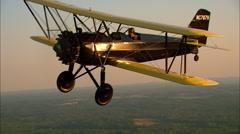 Stearman 6L Cloudboy Air To Air Break To Land Stock Footage