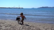 Boy plays with a dog at the seafront Stock Footage