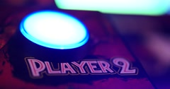 "Arcade Games Machine ""Start"" Button - Player Pressing Button, Close Up Stock Footage"