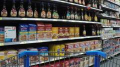 Grocery store shelves breakfast foods HD Stock Footage