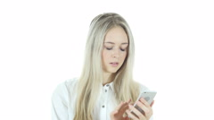 Positive Woman Using Smartphone for Browsing, White Background Stock Footage