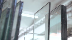 Glass for glazed windows. Warehouse for glass Stock Footage