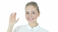 Hi, Hello, Business Woman Waving Hand, White Background Stock Footage