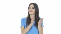 Woman  Clapping , White Background Stock Footage