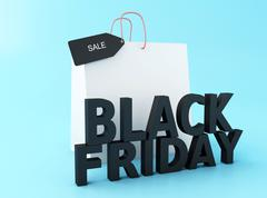 3d Black friday with shopping bag. Stock Illustration