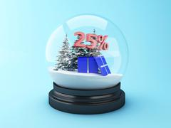 3d Snow dome with trees and red 25% discount. Stock Illustration