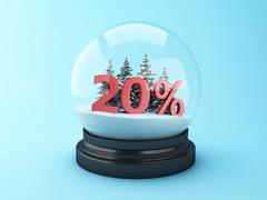 3d Snow dome with trees and red 20% discount. Stock Illustration