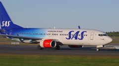 SAS Scandinavian Airlines 70 years celebration livery airplane taxiing Stock Footage