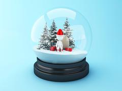 3D White people with christmas gifts in snow dome. Stock Illustration