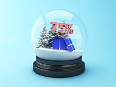 3d Snow dome with trees and red 75% discount. Stock Illustration