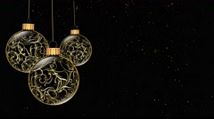 Golden Ornaments Merry Christmas 4K Loop Stock Footage
