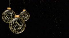 Golden Ornaments Merry Christmas 4K Loop Stock Footage